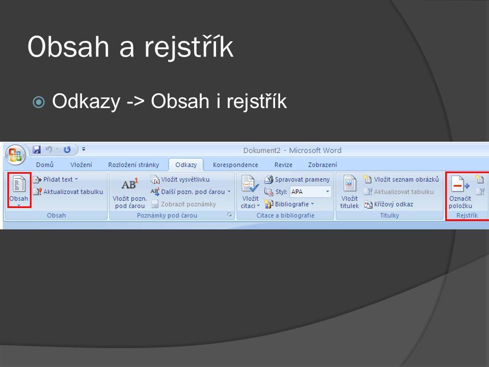 Obsah a rejstřík  Odkazy -> Obsah i rejstřík