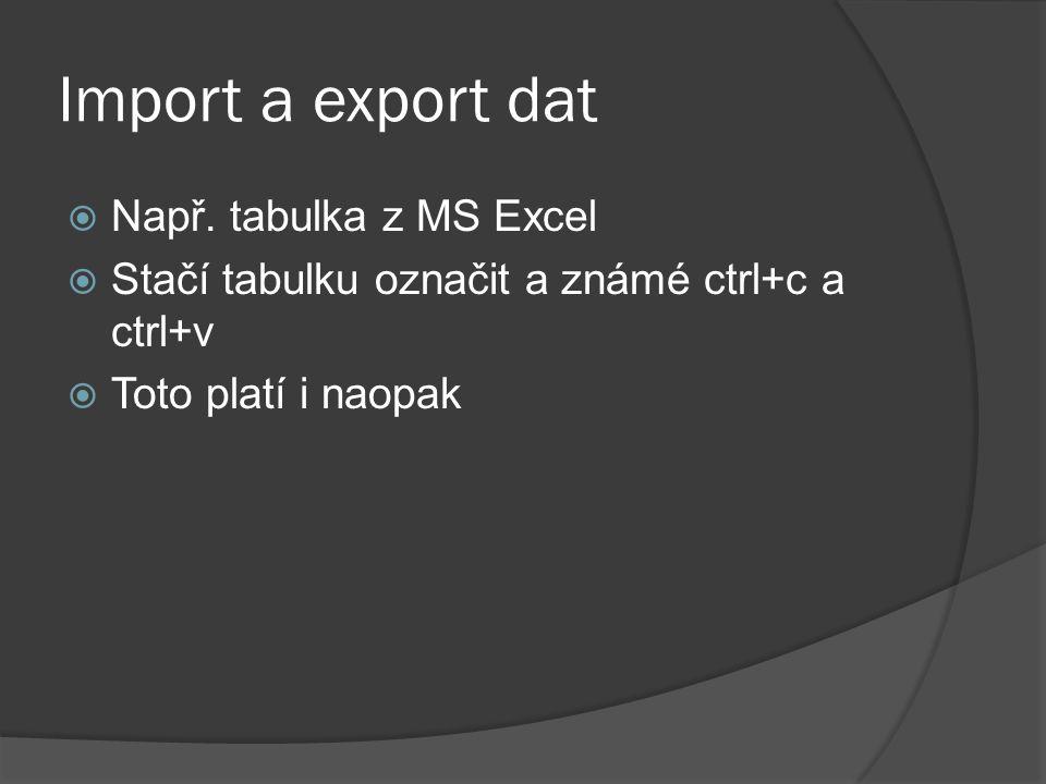 Import a export dat  Např. tabulka z MS Excel  Stačí tabulku označit a známé ctrl+c a ctrl+v  Toto platí i naopak