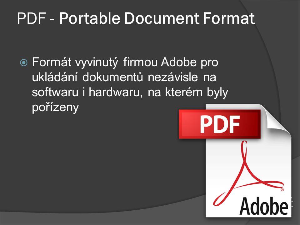 PDF - Portable Document Format  Formát vyvinutý firmou Adobe pro ukládání dokumentů nezávisle na softwaru i hardwaru, na kterém byly pořízeny