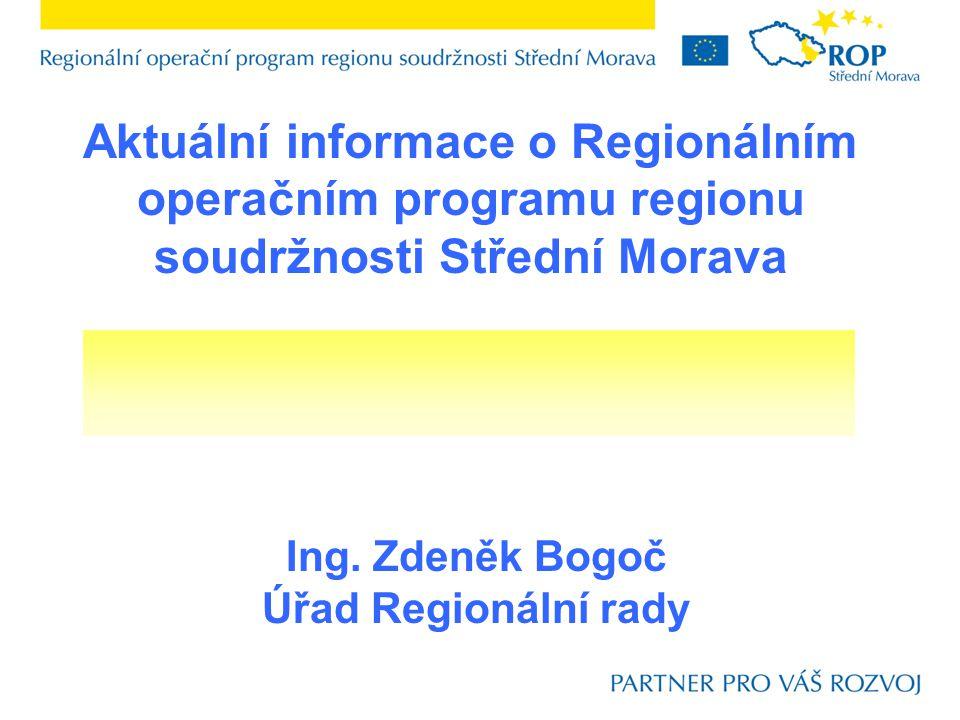Aktuální informace o Regionálním operačním programu regionu soudržnosti Střední Morava Ing.