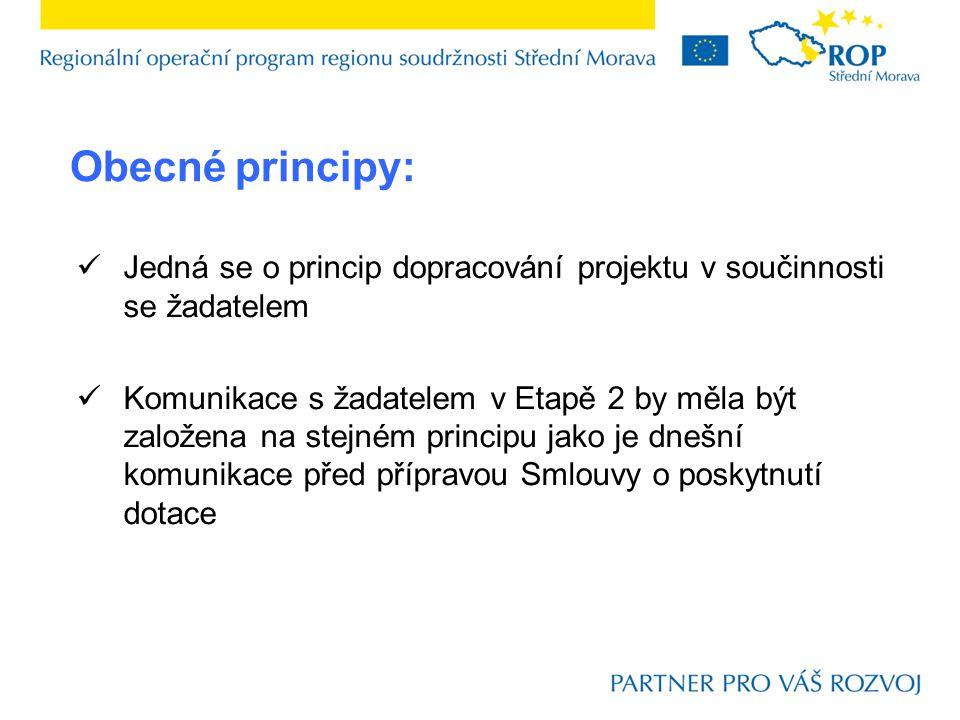 Obecné principy: Jedná se o princip dopracování projektu v součinnosti se žadatelem Komunikace s žadatelem v Etapě 2 by měla být založena na stejném principu jako je dnešní komunikace před přípravou Smlouvy o poskytnutí dotace