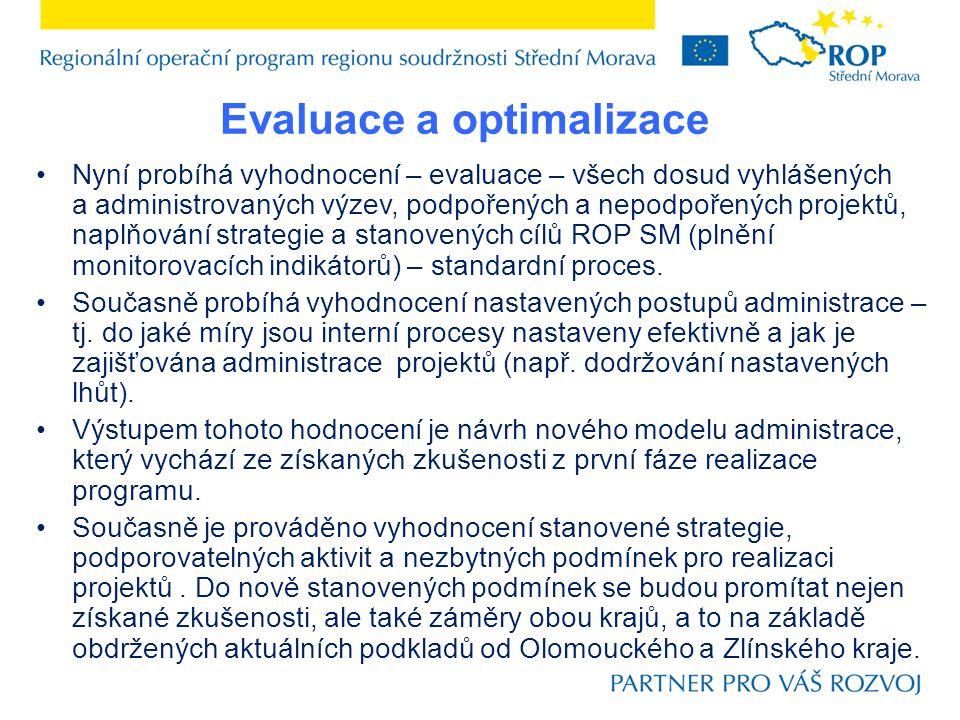 Nyní probíhá vyhodnocení – evaluace – všech dosud vyhlášených a administrovaných výzev, podpořených a nepodpořených projektů, naplňování strategie a stanovených cílů ROP SM (plnění monitorovacích indikátorů) – standardní proces.