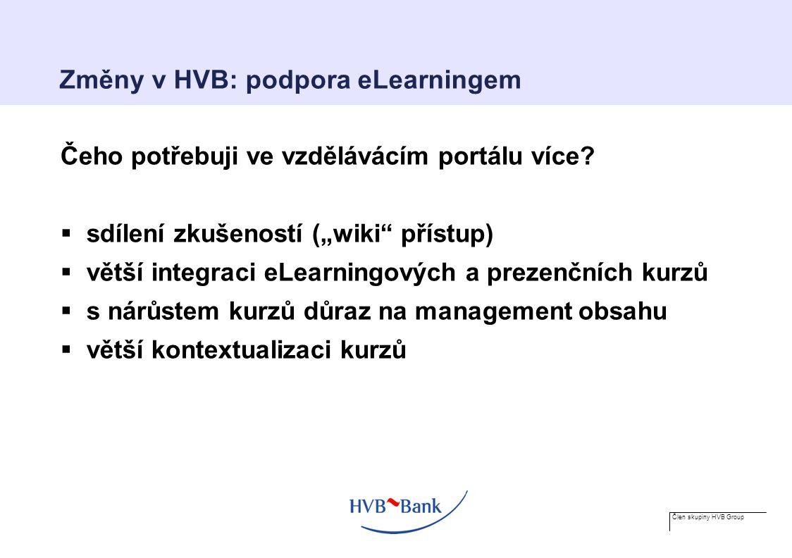 Člen skupiny HVB Group Změny v HVB: podpora eLearningem Čeho potřebuji ve vzdělávácím portálu více.