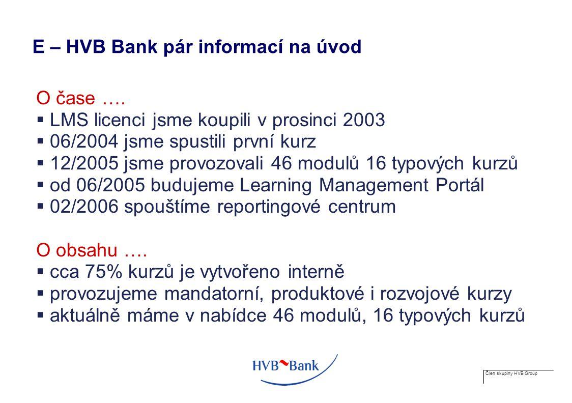 Člen skupiny HVB Group O funkcionalitě … E- learning  kurzy a testy  reporting  e-nominace a schvalování  chat, diskuze  tisky – poznámky, komentáře, certifikáty