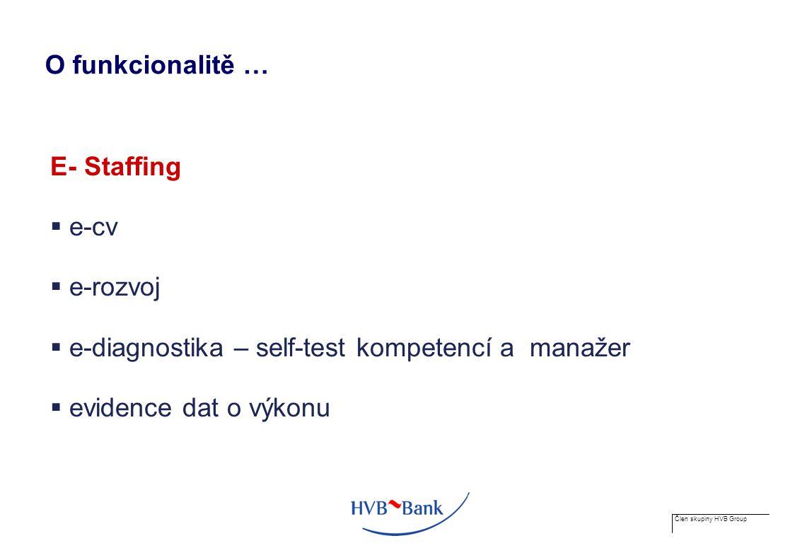 Člen skupiny HVB Group O funkcionalitě … E- Staffing  e-cv  e-rozvoj  e-diagnostika – self-test kompetencí a manažer  evidence dat o výkonu