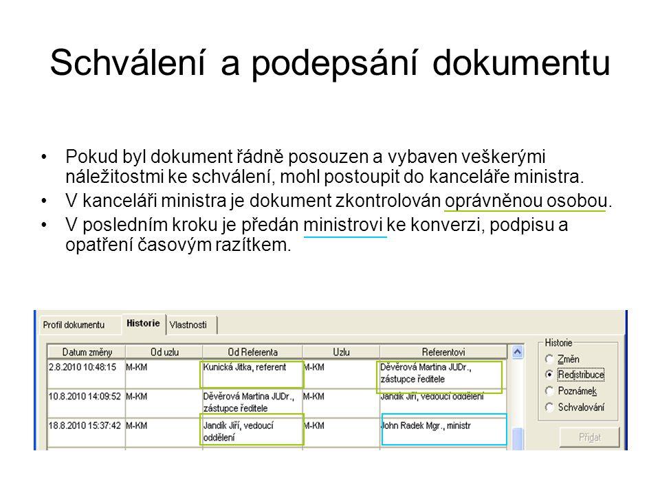 Schválení a podepsání dokumentu Pokud byl dokument řádně posouzen a vybaven veškerými náležitostmi ke schválení, mohl postoupit do kanceláře ministra.