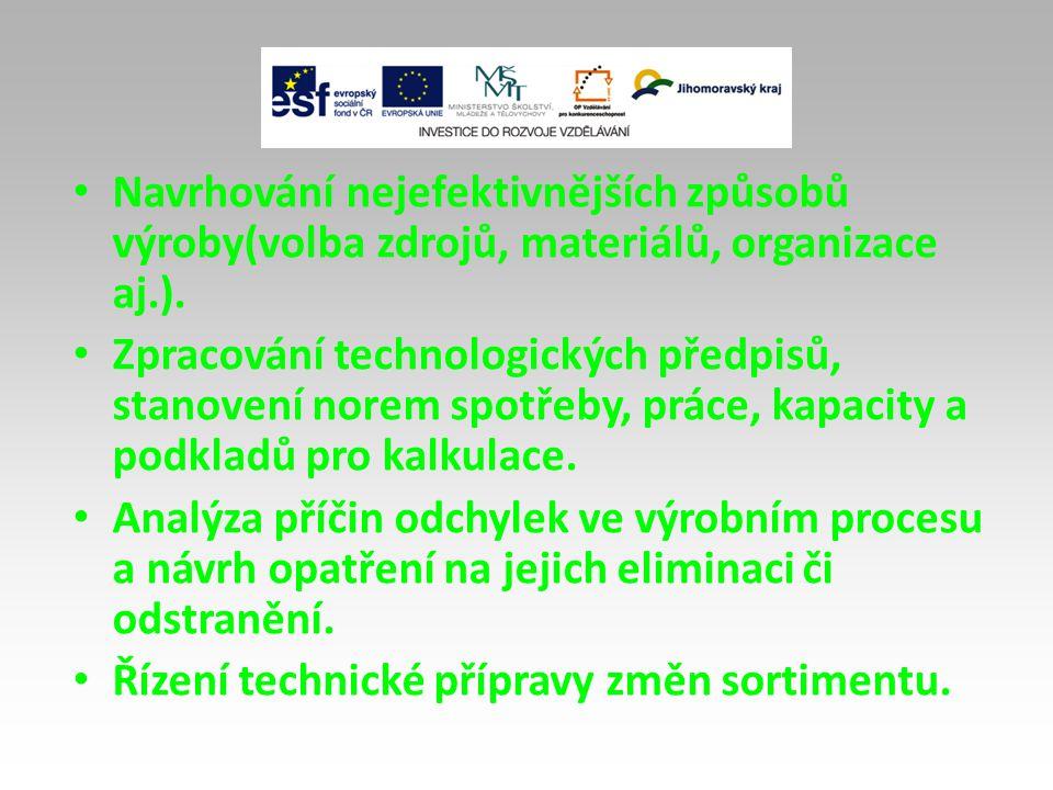 Navrhování nejefektivnějších způsobů výroby(volba zdrojů, materiálů, organizace aj.).