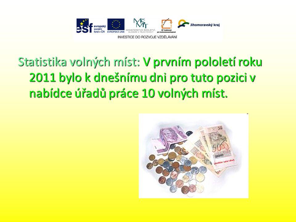 Statistika volných míst: V prvním pololetí roku 2011 bylo k dnešnímu dni pro tuto pozici v nabídce úřadů práce 10 volných míst.