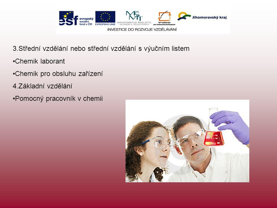 3.Střední vzdělání nebo střední vzdělání s výučním listem Chemik laborant Chemik pro obsluhu zařízení 4.Základní vzdělání Pomocný pracovník v chemii