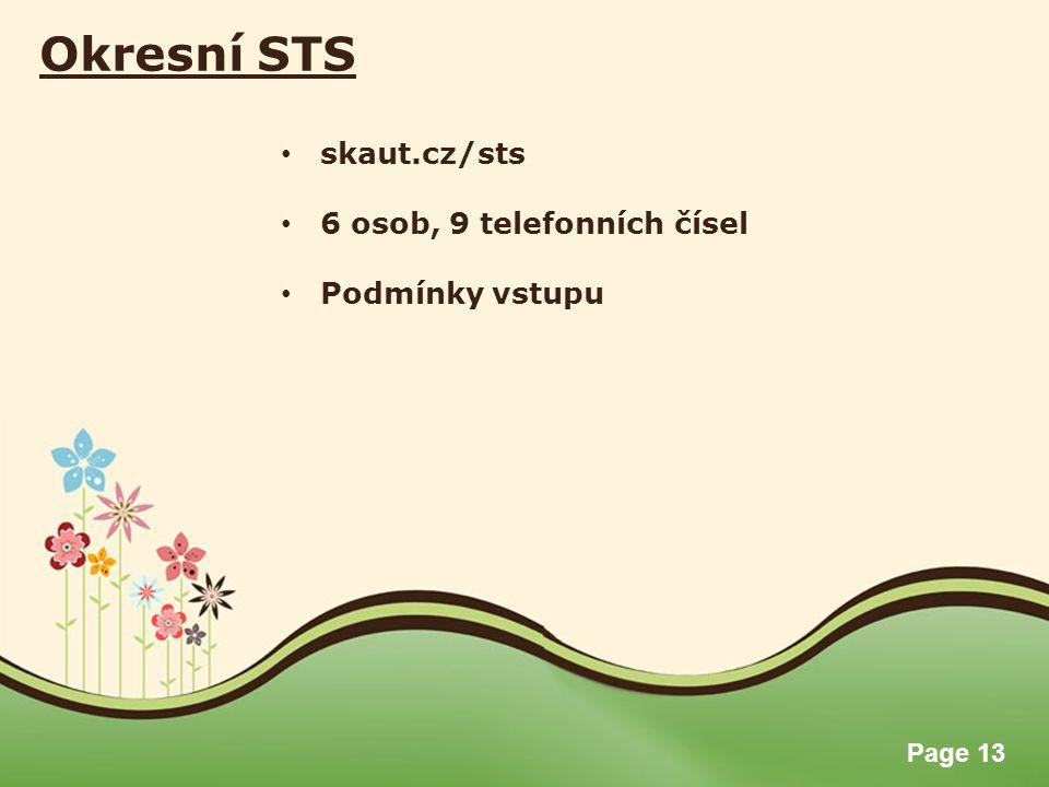 Page 13 Okresní STS skaut.cz/sts 6 osob, 9 telefonních čísel Podmínky vstupu