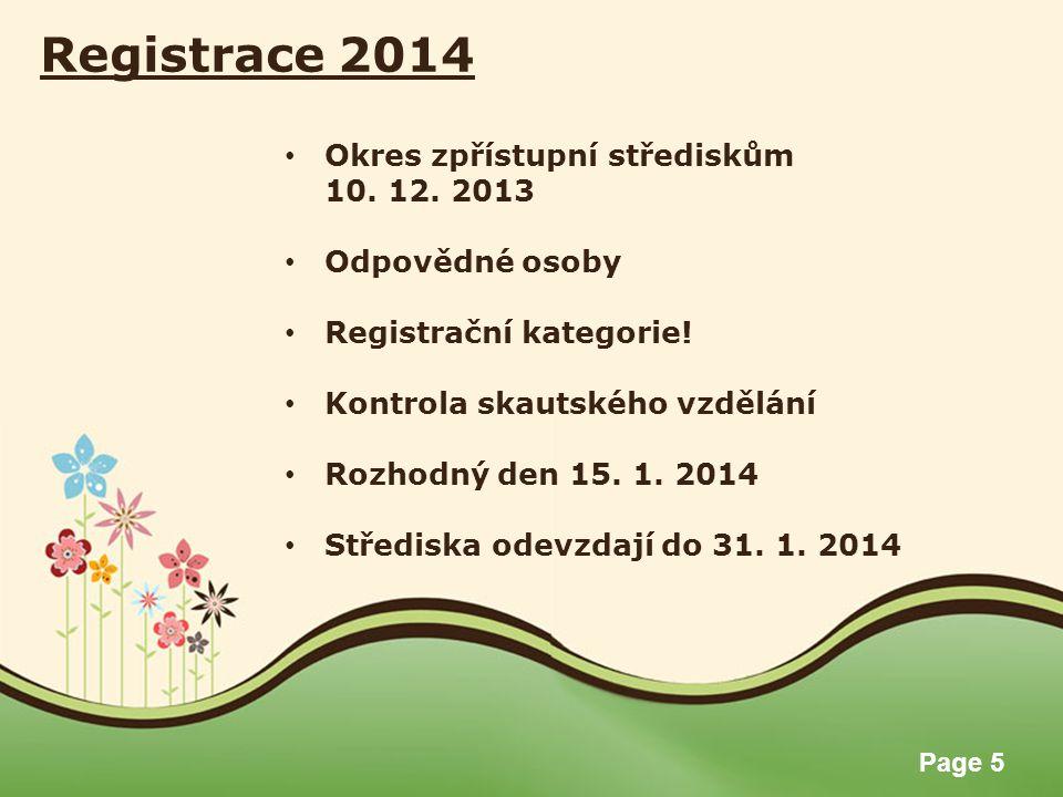 Page 5 Registrace 2014 Okres zpřístupní střediskům 10.