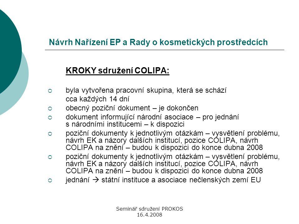 Seminář sdružení PROKOS 16.4.2008 Návrh Nařízení EP a Rady o kosmetických prostředcích KROKY sdružení COLIPA:  byla vytvořena pracovní skupina, která