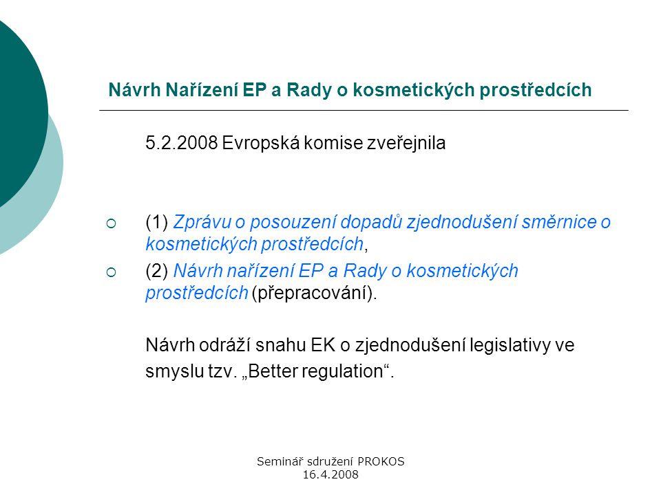 Seminář sdružení PROKOS 16.4.2008 Návrh Nařízení EP a Rady o kosmetických prostředcích 5.2.2008 Evropská komise zveřejnila  (1) Zprávu o posouzení do