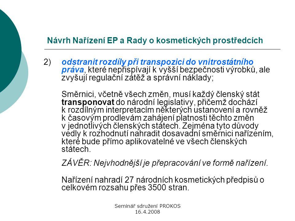 Seminář sdružení PROKOS 16.4.2008 Návrh Nařízení EP a Rady o kosmetických prostředcích 2)odstranit rozdíly při transpozici do vnitrostátního práva, kt