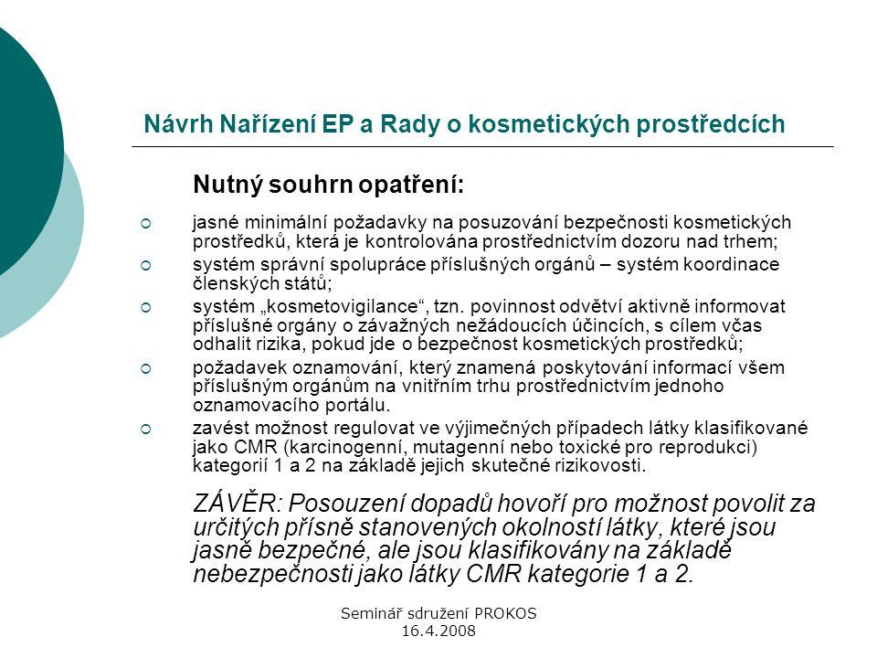 Seminář sdružení PROKOS 16.4.2008 Návrh Nařízení EP a Rady o kosmetických prostředcích Nutný souhrn opatření:  jasné minimální požadavky na posuzován
