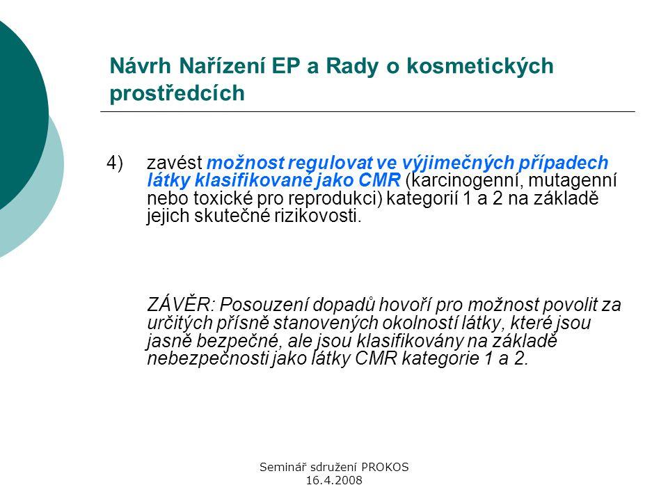 Seminář sdružení PROKOS 16.4.2008 Návrh Nařízení EP a Rady o kosmetických prostředcích 4) zavést možnost regulovat ve výjimečných případech látky klas