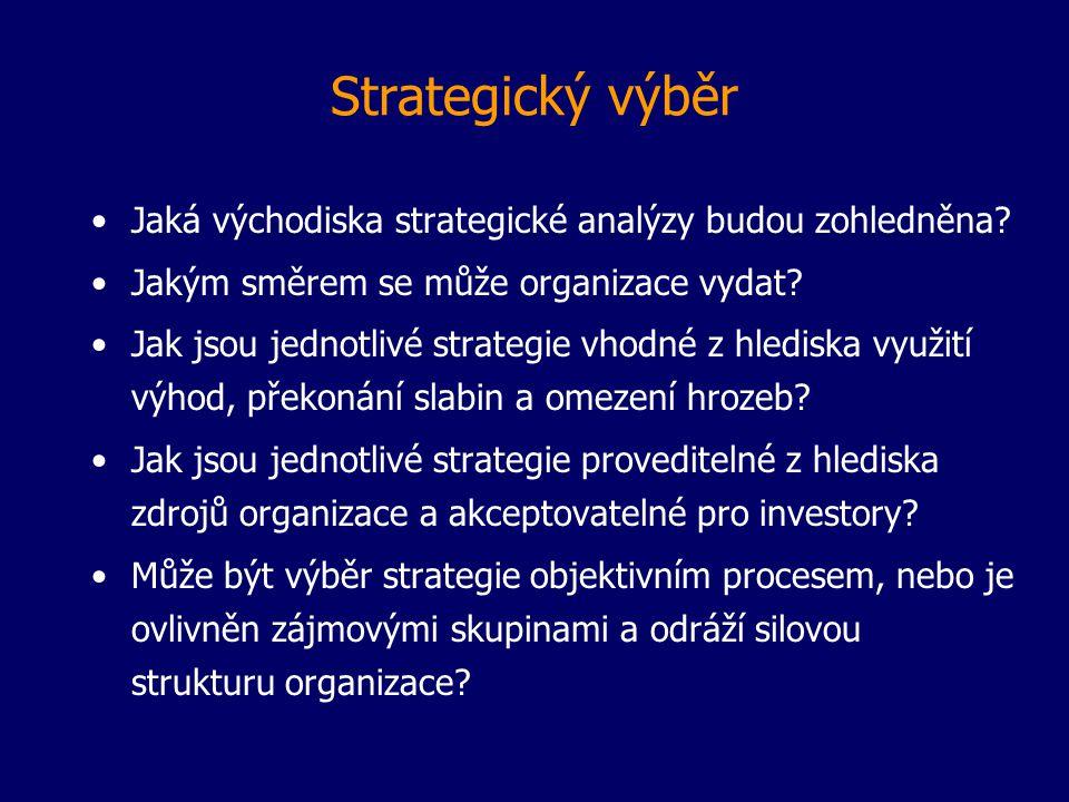 Strategický výběr Jaká východiska strategické analýzy budou zohledněna? Jakým směrem se může organizace vydat? Jak jsou jednotlivé strategie vhodné z