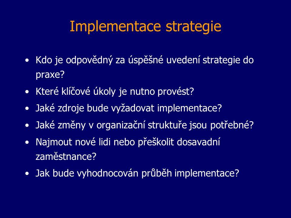 Implementace strategie Kdo je odpovědný za úspěšné uvedení strategie do praxe? Které klíčové úkoly je nutno provést? Jaké zdroje bude vyžadovat implem