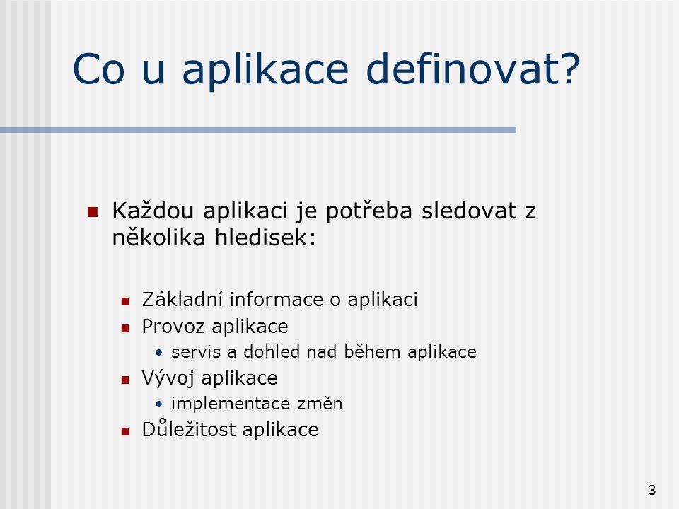 3 Co u aplikace definovat? Každou aplikaci je potřeba sledovat z několika hledisek: Základní informace o aplikaci Provoz aplikace servis a dohled nad