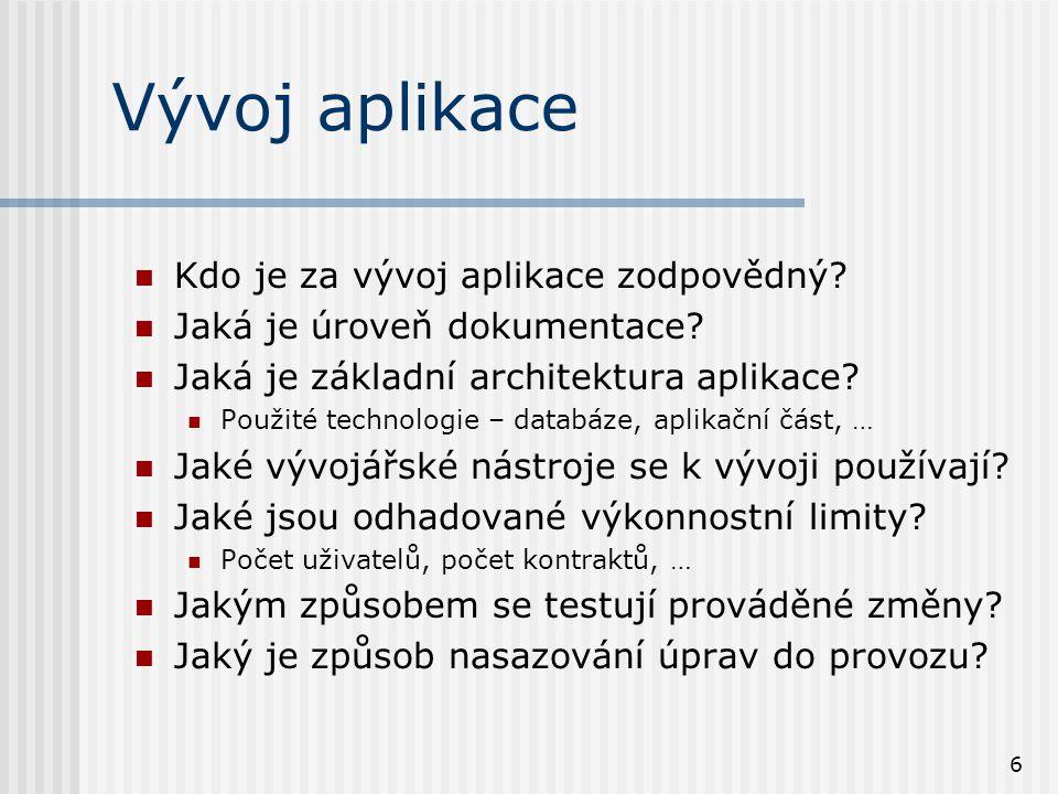 6 Vývoj aplikace Kdo je za vývoj aplikace zodpovědný.