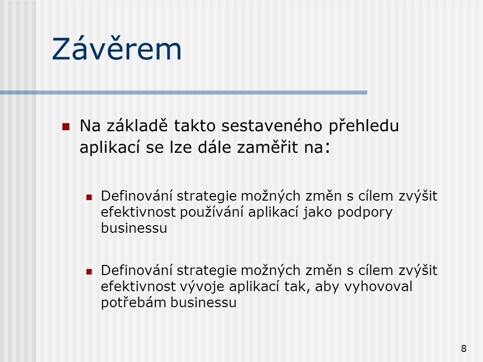 8 Závěrem Na základě takto sestaveného přehledu aplikací se lze dále zaměřit na : Definování strategie možných změn s cílem zvýšit efektivnost používání aplikací jako podpory businessu Definování strategie možných změn s cílem zvýšit efektivnost vývoje aplikací tak, aby vyhovoval potřebám businessu