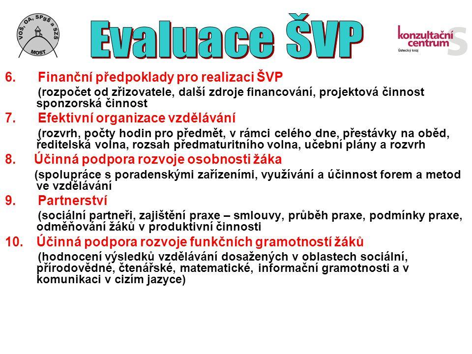 6. Finanční předpoklady pro realizaci ŠVP (rozpočet od zřizovatele, další zdroje financování, projektová činnost sponzorská činnost 7. Efektivní organ