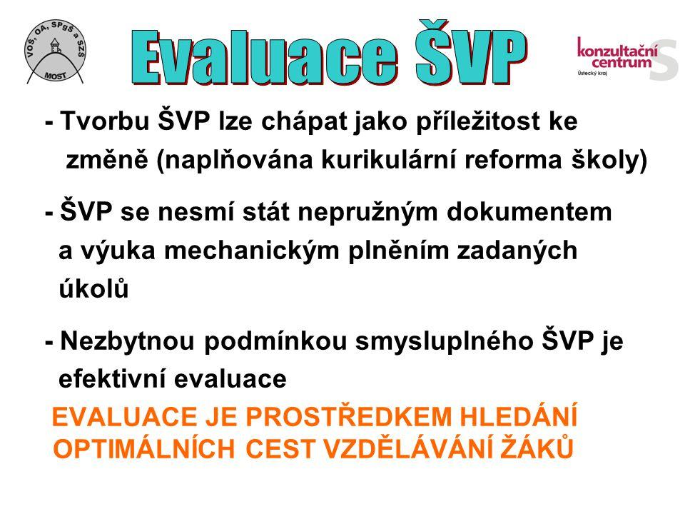 - Tvorbu ŠVP lze chápat jako příležitost ke změně (naplňována kurikulární reforma školy) - ŠVP se nesmí stát nepružným dokumentem a výuka mechanickým