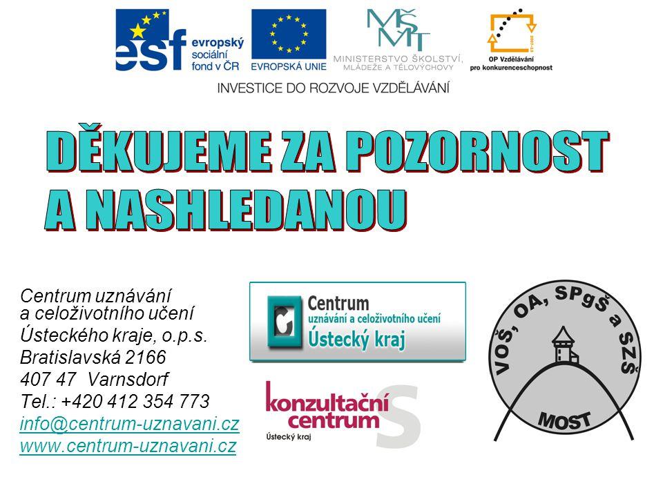 Centrum uznávání a celoživotního učení Ústeckého kraje, o.p.s. Bratislavská 2166 407 47 Varnsdorf Tel.: +420 412 354 773 info@centrum-uznavani.cz www.