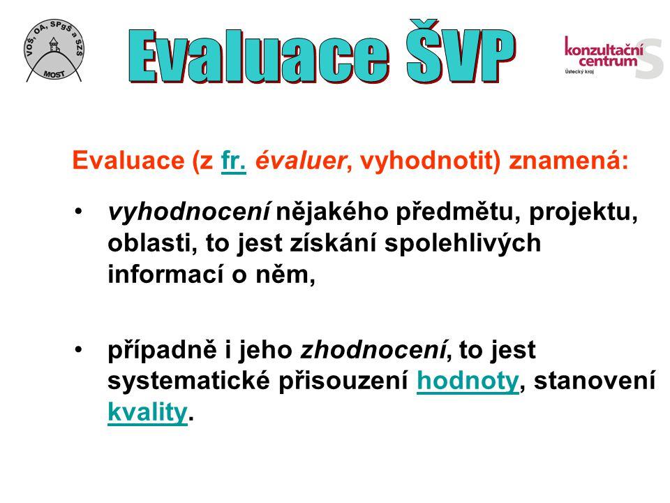 Evaluace (z fr. évaluer, vyhodnotit) znamená:fr. vyhodnocení nějakého předmětu, projektu, oblasti, to jest získání spolehlivých informací o něm, přípa