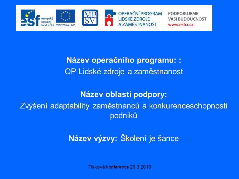 Tisková konference 26.3.2010 Název operačního programu: : OP Lidské zdroje a zaměstnanost Název oblasti podpory: Zvýšení adaptability zaměstnanců a konkurenceschopnosti podniků Název výzvy: Školení je šance