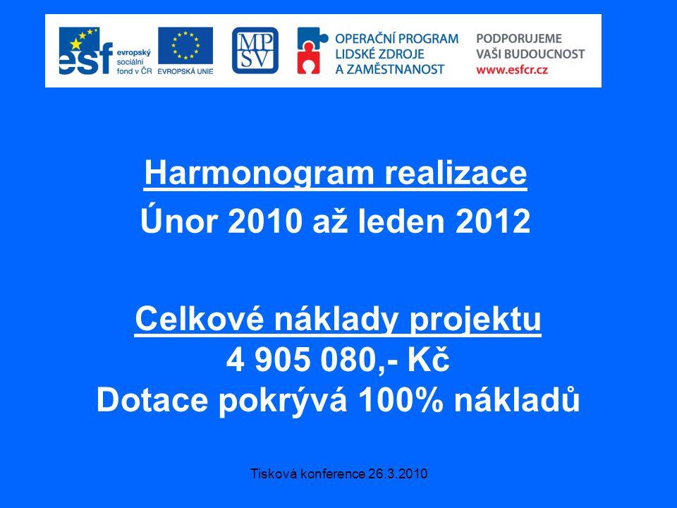 Tisková konference 26.3.2010 Harmonogram realizace Únor 2010 až leden 2012 Celkové náklady projektu 4 905 080,- Kč Dotace pokrývá 100% nákladů