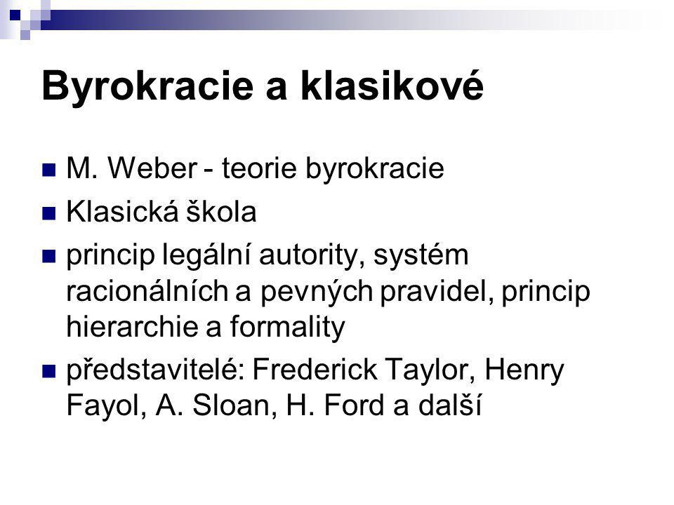 Byrokracie a klasikové M. Weber - teorie byrokracie Klasická škola princip legální autority, systém racionálních a pevných pravidel, princip hierarchi