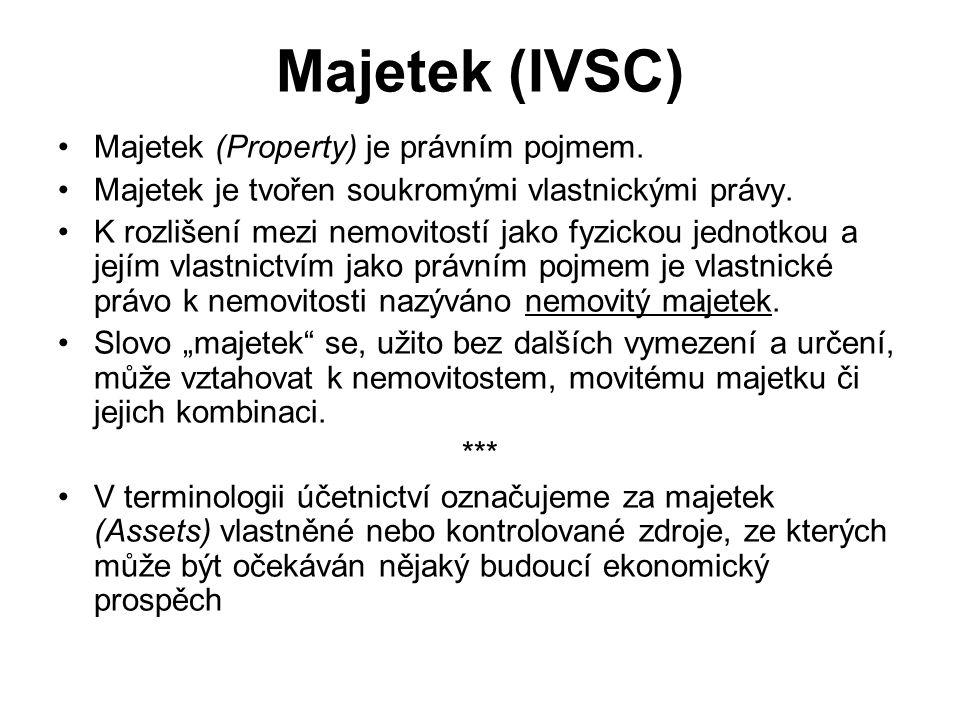 Majetek (IVSC) Majetek (Property) je právním pojmem. Majetek je tvořen soukromými vlastnickými právy. K rozlišení mezi nemovitostí jako fyzickou jedno