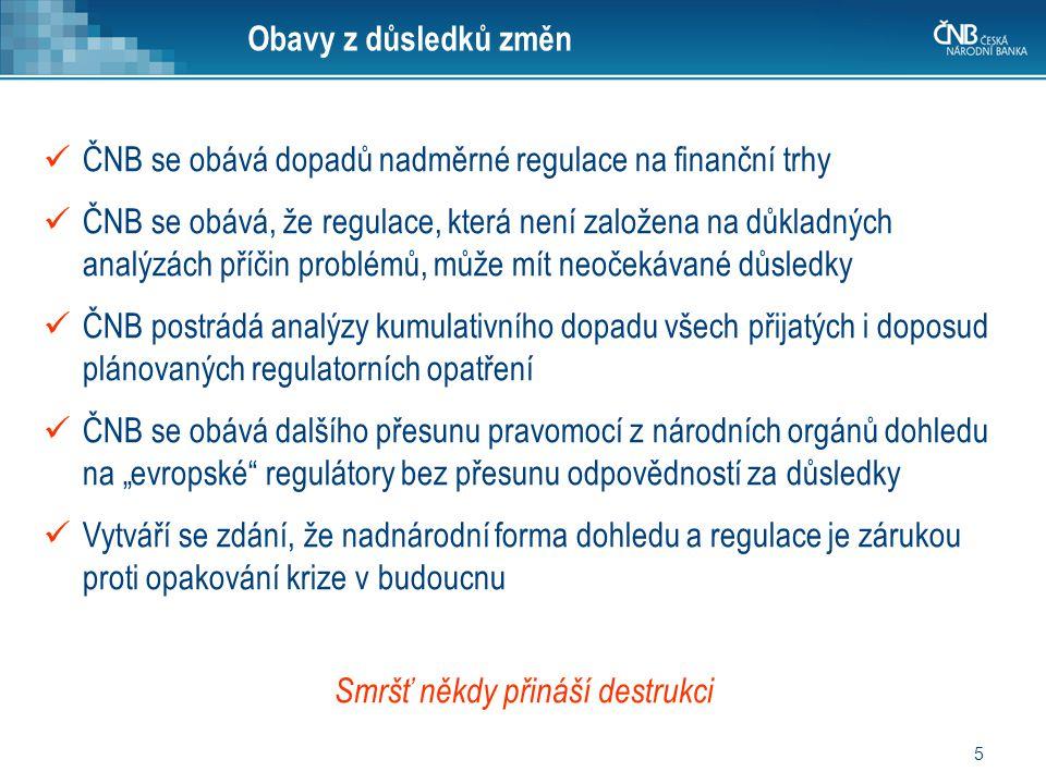 5 ČNB se obává dopadů nadměrné regulace na finanční trhy ČNB se obává, že regulace, která není založena na důkladných analýzách příčin problémů, může