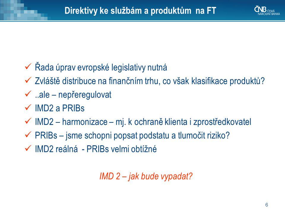 6 Direktivy ke službám a produktům na FT Řada úprav evropské legislativy nutná Zvláště distribuce na finančním trhu, co však klasifikace produktů?..al
