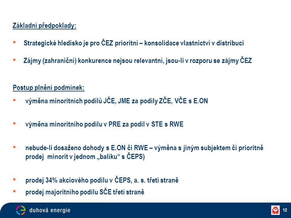 12 Základní předpoklady: Strategické hledisko je pro ČEZ prioritní – konsolidace vlastnictví v distribuci Zájmy (zahraniční) konkurence nejsou relevan