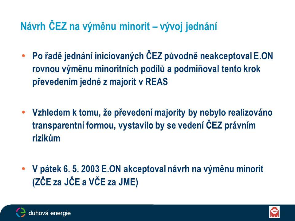 14  Po řadě jednání iniciovaných ČEZ původně neakceptoval E.ON rovnou výměnu minoritních podílů a podmiňoval tento krok převedením jedné z majorit v