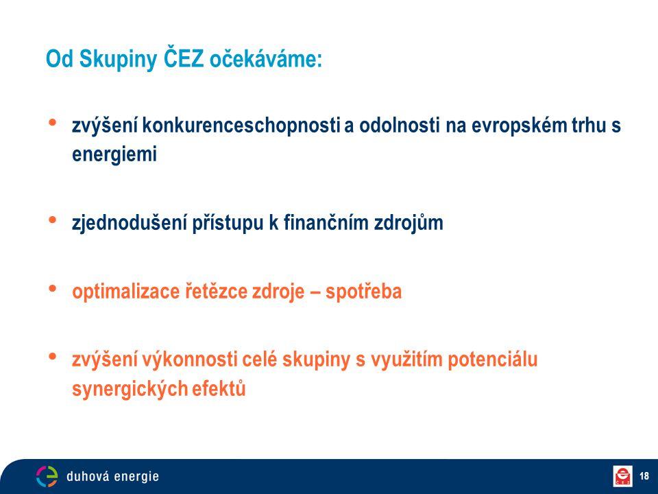 18 zvýšení konkurenceschopnosti a odolnosti na evropském trhu s energiemi zjednodušení přístupu k finančním zdrojům optimalizace řetězce zdroje – spot