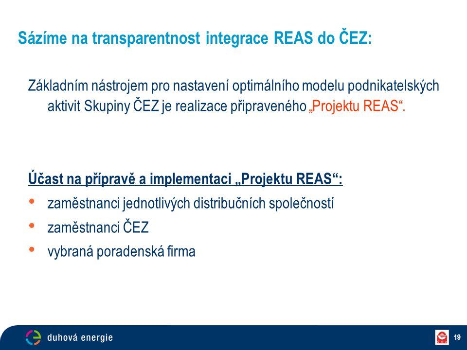 """19 Základním nástrojem pro nastavení optimálního modelu podnikatelských aktivit Skupiny ČEZ je realizace připraveného """"Projektu REAS"""". Účast na přípra"""