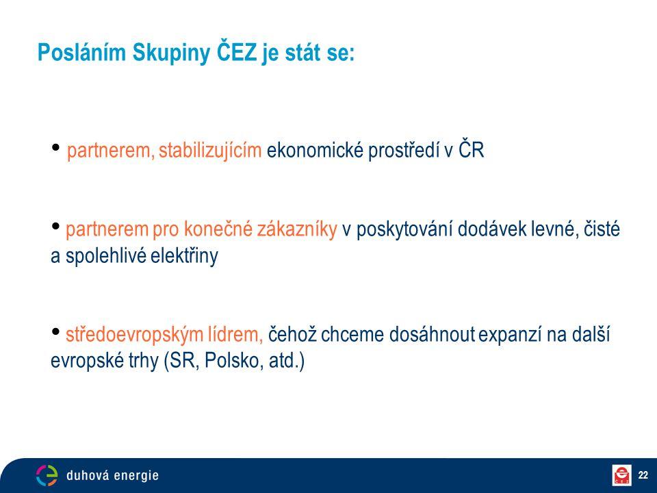 22 Posláním Skupiny ČEZ je stát se: partnerem, stabilizujícím ekonomické prostředí v ČR partnerem pro konečné zákazníky v poskytování dodávek levné, č