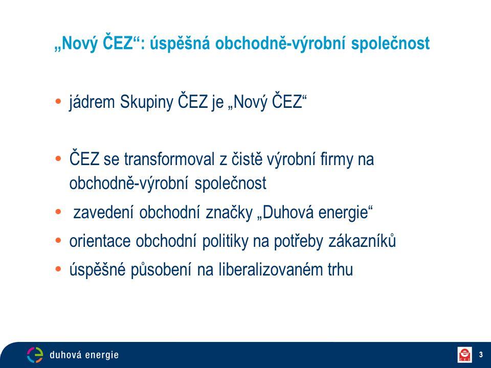 """3 """"Nový ČEZ"""": úspěšná obchodně-výrobní společnost  jádrem Skupiny ČEZ je """"Nový ČEZ""""  ČEZ se transformoval z čistě výrobní firmy na obchodně-výrobní"""