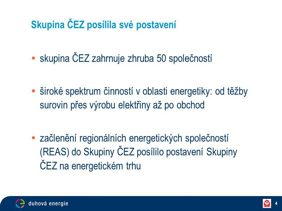 4 Skupina ČEZ posílila své postavení  skupina ČEZ zahrnuje zhruba 50 společností  široké spektrum činností v oblasti energetiky: od těžby surovin př