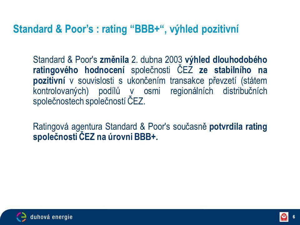 6 Standard & Poor's změnila 2. dubna 2003 výhled dlouhodobého ratingového hodnocení společnosti ČEZ ze stabilního na pozitivní v souvislosti s ukončen