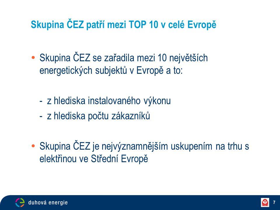 7 Skupina ČEZ patří mezi TOP 10 v celé Evropě  Skupina ČEZ se zařadila mezi 10 největších energetických subjektů v Evropě a to: - z hlediska instalov