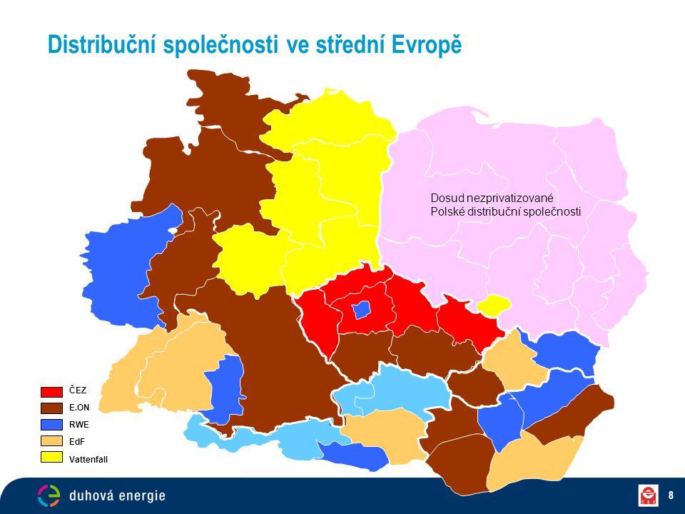 8 ČEZ E.ON RWE EdF Vattenfall Dosud nezprivatizované Polské distribuční společnosti Distribuční společnosti ve střední Evropě