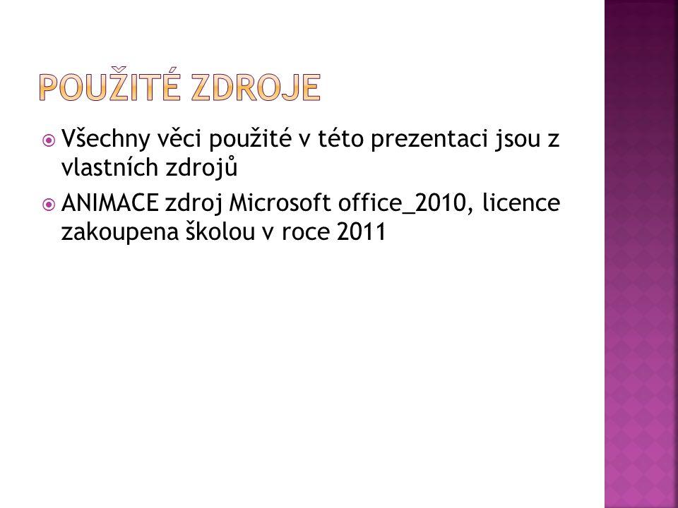  Všechny věci použité v této prezentaci jsou z vlastních zdrojů  ANIMACE zdroj Microsoft office_2010, licence zakoupena školou v roce 2011