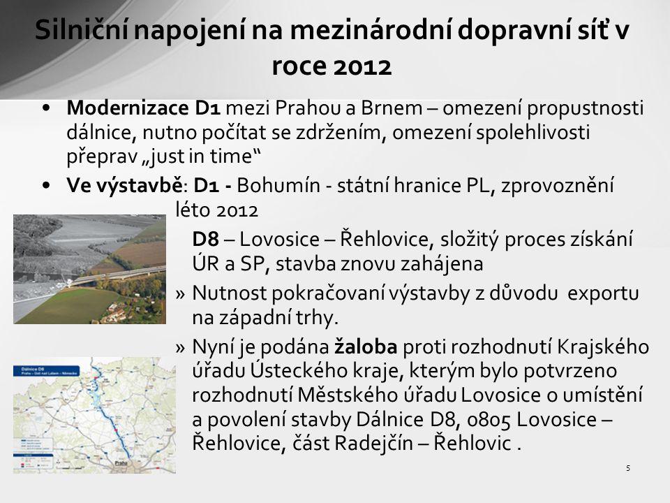 6 Silniční napojení na mezinárodní dopravní síť v roce 2012 V přípravě: D3/R3 – Úsilné – Třebonín - státní hranice AT R 52 – Pohořelice – státní hranice AT R 49 – Fryšták – státní hranice SK, zasmluvněno Hulín – Fryšták D11/R/11 Hradec – Králové – Jaroměř – st.h.PL I/11 a I/68 Třanovice – Bystřice, směr hranice SK
