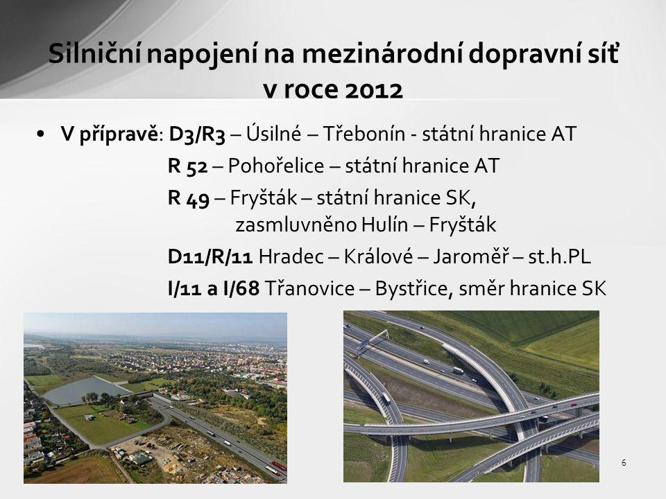7 Železniční napojení na mezinárodní dopravní síť v roce 2012 Ve výstavbě: III.TŽK.