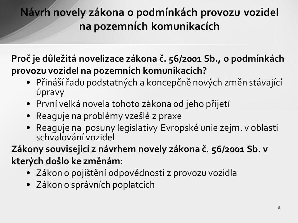 9 Návrh novely zákona o podmínkách provozu vozidel na pozemních komunikacích Proč je důležitá novelizace zákona č.