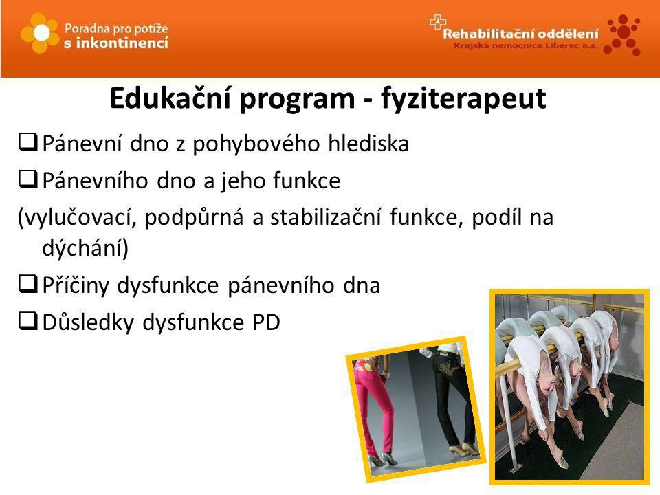 Edukační program - fyziterapeut  Pánevní dno z pohybového hlediska  Pánevního dno a jeho funkce (vylučovací, podpůrná a stabilizační funkce, podíl n